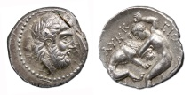 Ancient Coins - KINGS of PAEONIA. Lykkeios. Circa 359-335 BC. AR Tetradrachm