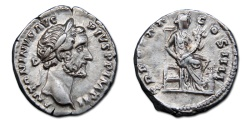 Ancient Coins - Antoninus Pius AR Denarius - Annona seated, holding cornucopiae; modius at feet