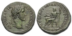 Ancient Coins - Antoninus Pius  AE32. Philippopolis, Thrace.  Zeus seated, holding patera and sceptre.