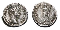 Ancient Coins - Marcus Aurelius AR Denarius - Virtus in military dress