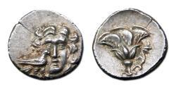 Ancient Coins - Mylasa, Caria AR Drachm - Helios facing; bird at cheek. Rose reverse.