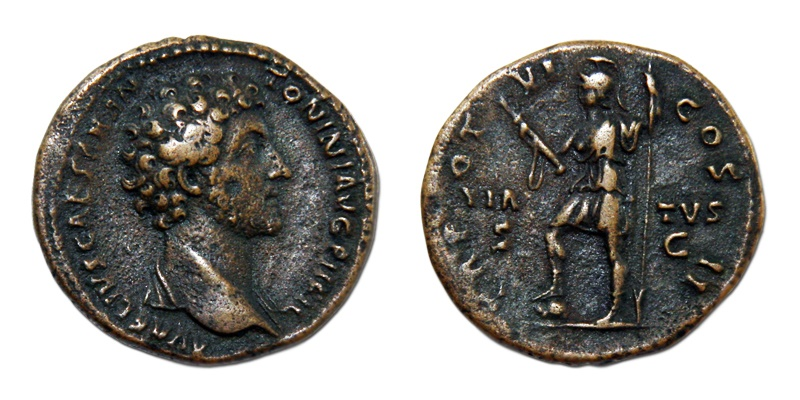 Ancient Coins - Marcus Aurelius. As Caesar, AD 139-161. Æ As