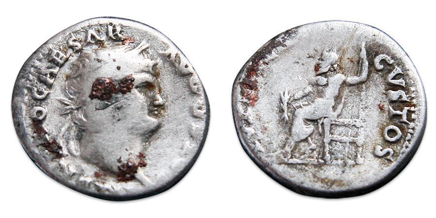Ancient Coins - Nero AR Denarius - IVPPITER CVSTOS, RIC 64