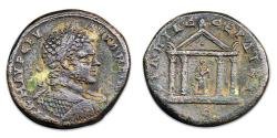 Ancient Coins - Caracalla Æ30 of Serdica. Statue of Asclepius within tetrastyle temple