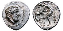 Ancient Coins - Kings of Paeonia. Lykkeios AR Tetradrachm - Herakles Strangling the Nemean Lion