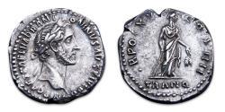 Ancient Coins - Antoninus Pius AR Denarius - Tranquillitas with rudder and corn ears. RIC 218