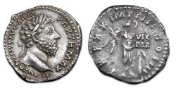 Ancient Coins - Marcus Aurelius AR Denarius - Victory placing shield inscribed VIC/PAR. RIC 163