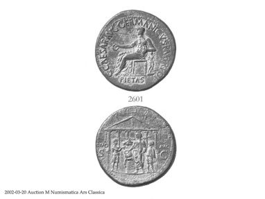 Ancient Coins - Gaius (Caligula) Æ Sestertius - Caligula sacrificing before hexastyle temple. Rare.