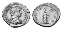 Ancient Coins - Geta AR Denarius - Minerva Leaning on Shield