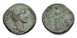 Ancient Coins - Marcus Aurelius Sestertius - Hilaritas holding long palm and cornucopia. RIC III 1242a (Pius)