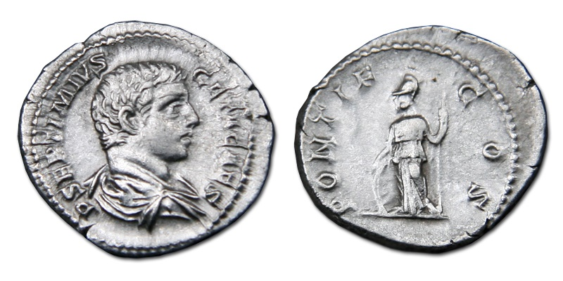 Ancient Coins - Geta AR Denarius - Minerva Leaning on Shield