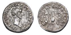 Ancient Coins - Nerva AR Denarius - PATER PATRIAE, ladle, sprinkler, jug and lituus. RIC 24