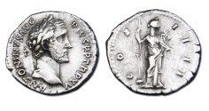Ancient Coins - Antoninus Pius AR Denarius - Fortuna holding rudder on globe and cornucopiae.