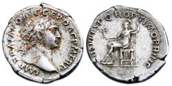 Ancient Coins - Trajan AR Denarius - Roma seated left, holding Victory