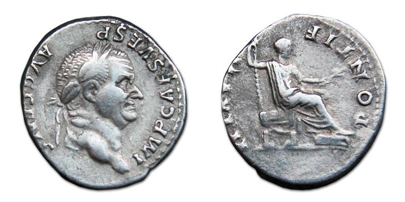 Ancient Coins - Vespasian AR Denarius - PONTIF MAXIM