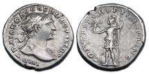 Ancient Coins - Trajan AR Denarius - Roma Holding Victory and Spear