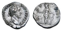 Ancient Coins - Antoninus Pius AR Denarius - Salus feeding snake. RIC 167