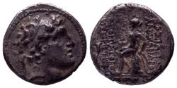 Ancient Coins - Syria, Seleukid Kingdom. Alexander I Balas, 150-145 BC. AR Drachm (4.32 g) struck at Antioch. As found with patina !