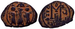 Ancient Coins - ARAB-BYZANTINE: Three Standing Figures, ca. 640s, AE fals (5.39g),  Excellent Type!