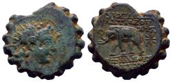 Ancient Coins - Seleukid Kingdom - Antiochos VI Dionysos 144-142 BC - AE Serrate, Very Sharp Details!, Dark Green Patina!!