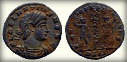 Ancient Coins - Delmatius. Caesar, AD 335-337. Æ , Siscia mint, Beautiful Coin, Dark Green Patina!