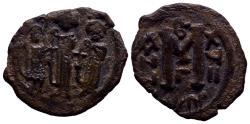 Ancient Coins - Arab-Byzantine. Three standing figures type. 680s-ca. 693. Æ Fals 4.75gr RARE!
