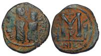 "Ancient Coins - Byzantine Empire, PERSIAN OCCUPATION OF SYRIA: ""Heraclius & Constantine "", 610-629, AE follis (6.43g), RARE!"