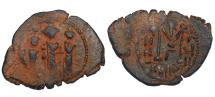 Ancient Coins - ARAB-BYZANTINE: Three Standing Figures, ca. 640s, AE fals (6.71g), KYΠP for Cyprus - Complete Coin