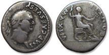 Ancient Coins - AR denarius Vespasianus / Vespasian, Rome 73 A.D. -- emperor seated right --