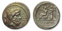 Ancient Coins - AR denarius M. Nonius Sufenas, Rome 59 B.C. -- gold irridescence on obverse --