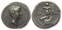 Ancient Coins - AR denarius Octavian / Octavianus, Victory at battle of Actium, Rome or Brundisium 30-27 B.C.