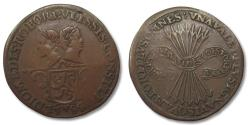 World Coins - Spanish Netherlands AE jeton (Dordrecht mint?) 1584: On the qualities of Prince Willem of Orange