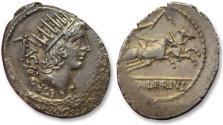 AR denarius, L. Valerius Acisculus, Rome 45 B.C. - scarcer coin, beautifully toned -