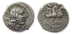Ancient Coins - AR Denarius, Q. Minucius Rufus, Rome 122 B.C.