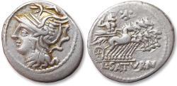 Ancient Coins - AR denarius L. Appuleius Saturninus, Rome 104 B.C. - control letter A between three pellets -