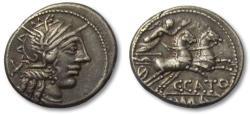 Ancient Coins - AR denarius C. Porcius Cato, Rome 123 B.C.