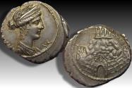 Ancient Coins - AR denarius C. Considius Nonianus, Rome 57 B.C. - Temple of Venus Erycina atop mountain -
