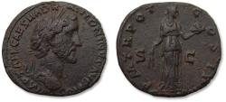 Ancient Coins - AE Sestertius Antoninus Pius - beautifully centered and quite sharp - Rome mint 139 A.D. - P M TR POT COS II S C, Fides standing facing -