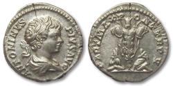 Ancient Coins - AR denarius Caracalla, Rome 202 A.D. -- super coin --