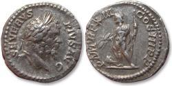 Ancient Coins - AR Denarius, Septimius Severus, Rome mint 205 A.D. - P M TR P XIII COS III P P, Jupiter left with eagle -