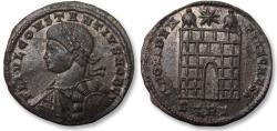 Ancient Coins - AE follis Constantius II as Caesar, Trier / Treveri mint 327-328 A.D. - STRE, 6 tiered campgate, near mint state -