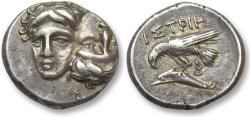 Ancient Coins - AR drachm Thrace, Moesia Inferior, Istros 400-350 B.C. -- hints of gold irridescence --