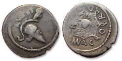 Ancient Coins - AR denarius, Mn. Cordius Rufus, Rome 46 B.C. - Corinthian helmet & owl -