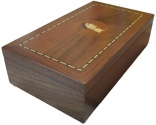 Ancient Coins - Medium sized walnut veneered coin case decorated with JULIUS CAESAR - holds 150 coins up to 37mm -