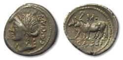 Ancient Coins - AR Denarius, L. Cassius Caecianus. Rome 102 B.C. - obverse control letter K• reverse M• -