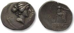 Ancient Coins - AR denarius M. Porcius Cato, African mint (Utica) 47-46 B.C. -- beauty --