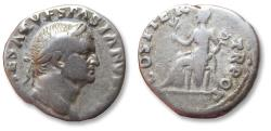 Ancient Coins - AR denarius Vespasian / Vespasianus, Rome mint 70 A.D. - COS ITER TR POT, Pax seated left -