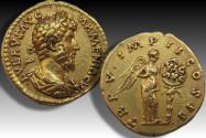 AV gold aureus Lucius Verus, Rome mint 164-165 A.D. - TR P V • IMP II COS II reverse -