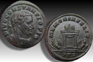 Ancient Coins - AE follis DIVO Constantius I Chlorus, Trier 307-308 - near mint state, EX MM Basel 1998 with collector ticket -