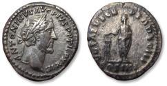 Ancient Coins - AR denarius Antoninus Pius. Rome mint 159-160 A.D. - VOTA SVSCEPTA DEC III / COS IIII -